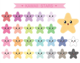 Pastel star clipart clip transparent stock View Kawaii Clipart Set by NedtiDesigns on Etsy clip transparent stock