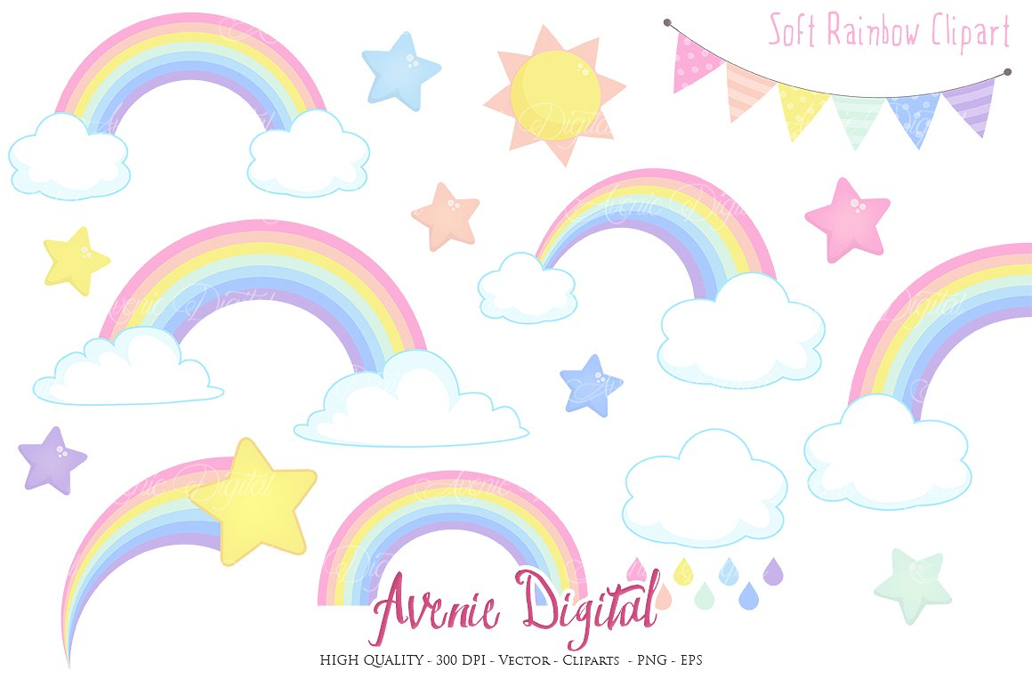 Pastel star clipart picture library Pastel Rainbow Clipart + Vector ~ Illustrations on Creative Market picture library