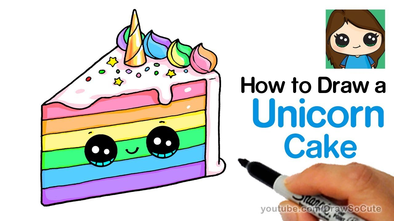 Pastries of all types with faces clipart jpg stock How to Draw a Unicorn Rainbow Cake Slice Easy and Cute jpg stock