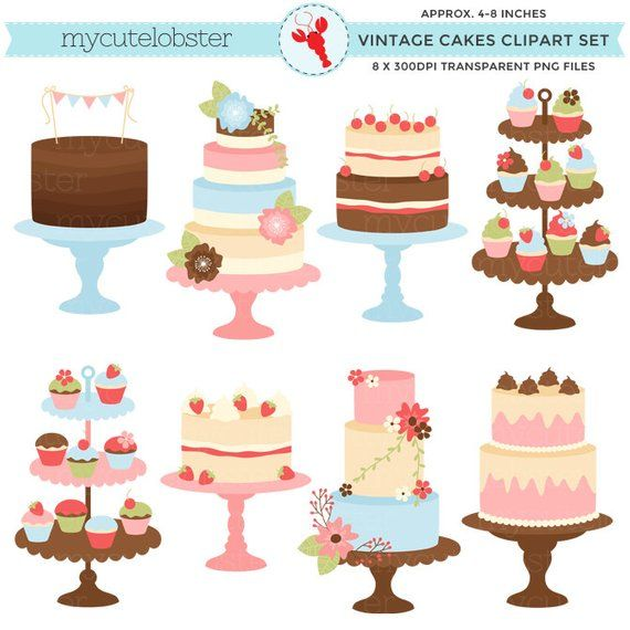 Pastries of all types with faces clipart jpg freeuse Pretty Vintage Cakes Clipart Set - clip art set of cakes ... jpg freeuse