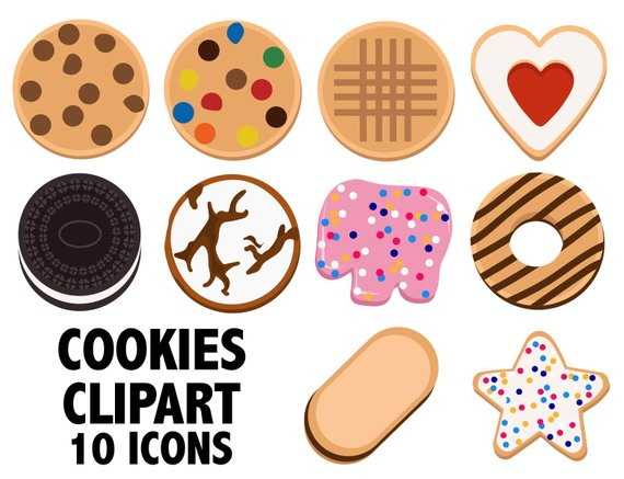 Pastries of all types with faces clipart transparent COOKIES CLIPART - bakery icons - Digital Images | Products ... transparent