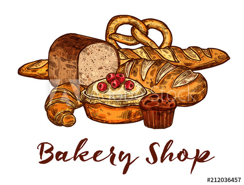 Pasty shop clipart image royalty free download Bakery shop sketch of wheat bread and pastry food - Buy this ... image royalty free download