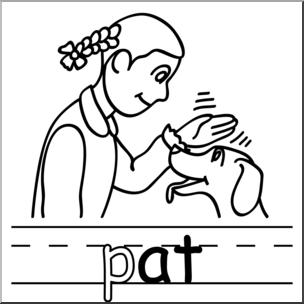 Pat clipart clip Clip Art: Basic Words: -at Phonics: Pat B&W I abcteach.com ... clip