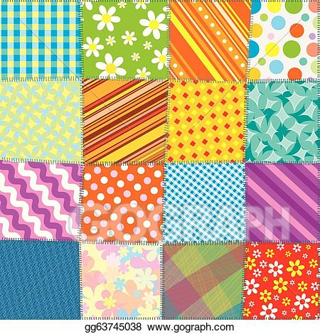 Patchwork quilt clipart image library download Vector Clipart - Quilt patchwork texture. seamless vector ... image library download