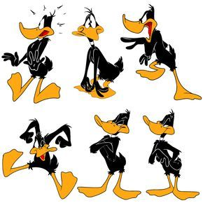Pato lucas clipart graphic stock El Pato Lucas o Daffy Duck en 6 poses, en vector e imagen ... graphic stock