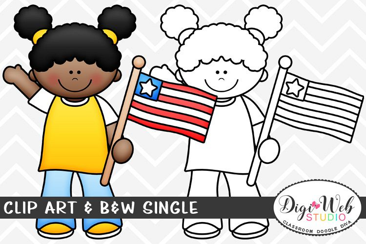 Patriotic support clipart clip art freeuse download Clip Art & B&W Single - 4th of July Patriotic Girl w A Flag clip art freeuse download
