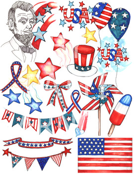Patriotic support clipart image freeuse download Patriotic USA ClipArt Set image freeuse download