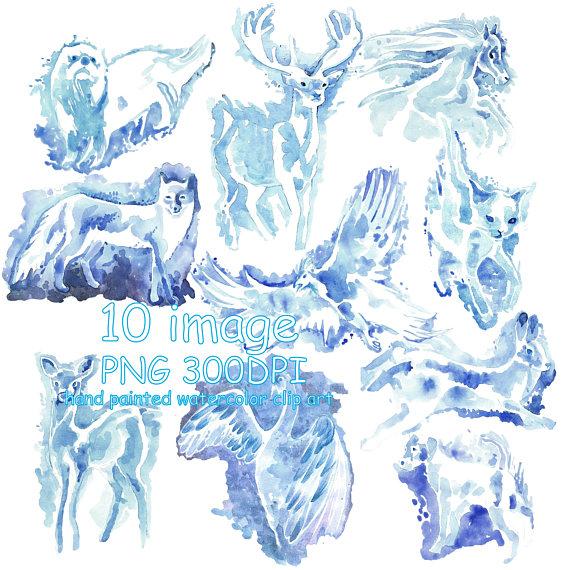 Patronus clipart image Watercolor Clip Art Patronus animals Harry Potter clipart ... image