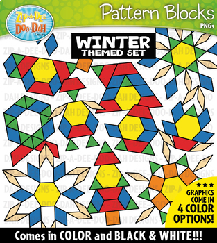 Pattern designs clipart vector library library Winter Puzzle Pattern Blocks Clipart {Zip-A-Dee-Doo-Dah Designs} vector library library