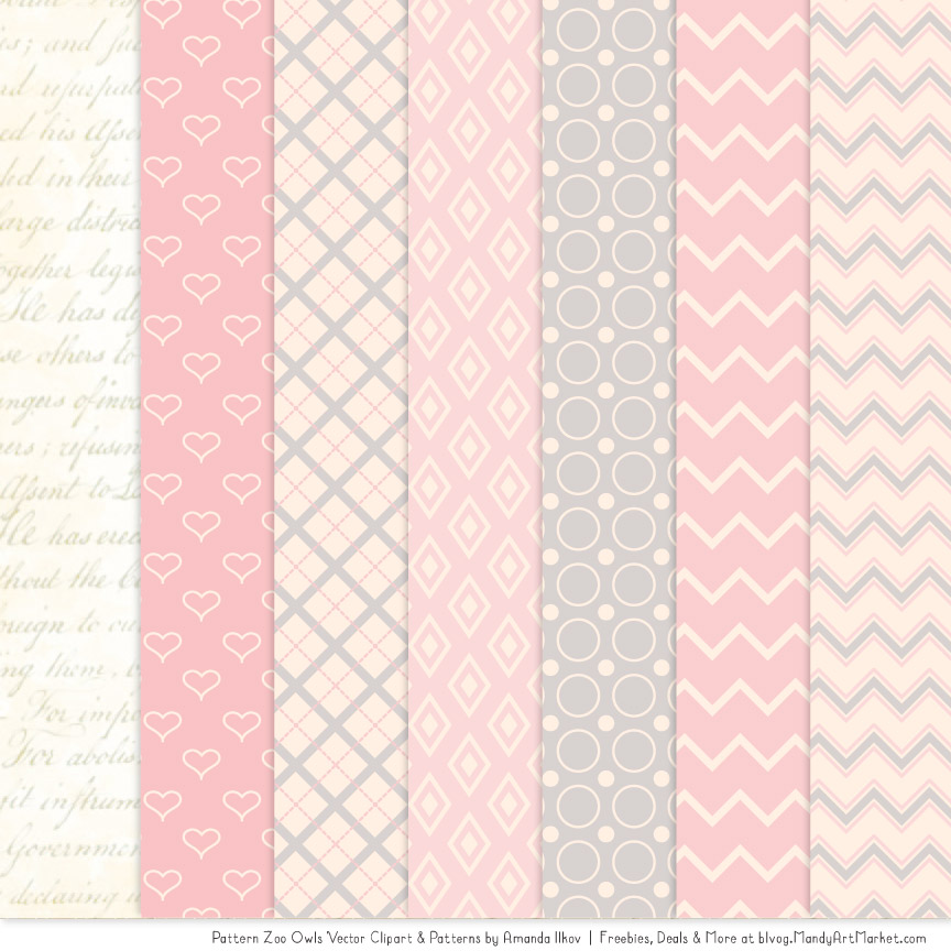 Patterned clipart banner library stock Soft Pink Patterned Owl Clipart & Patterns banner library stock