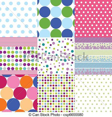 Patterns clip art royalty free download Vector Clipart of seamless patterns, polka dot set csp6655580 ... royalty free download