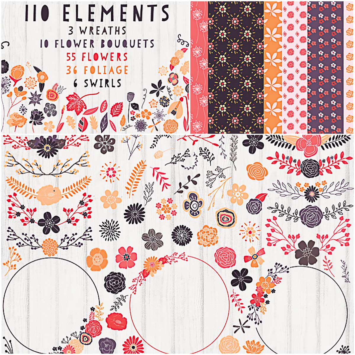 Patterns clipart free stock Floral clipart patterns and wreaths set | Free download free stock
