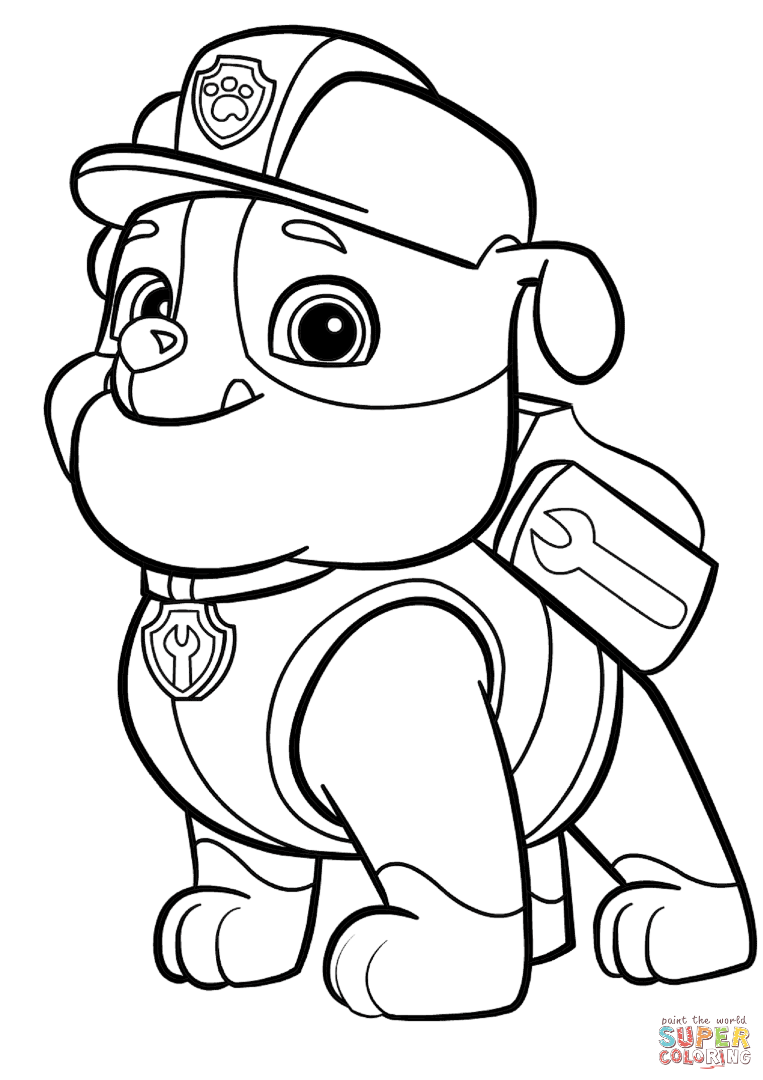 Paw patrol clip art black and white graphic transparent stock Paw Patrol Rubble coloring page | Free Printable Coloring Pages graphic transparent stock