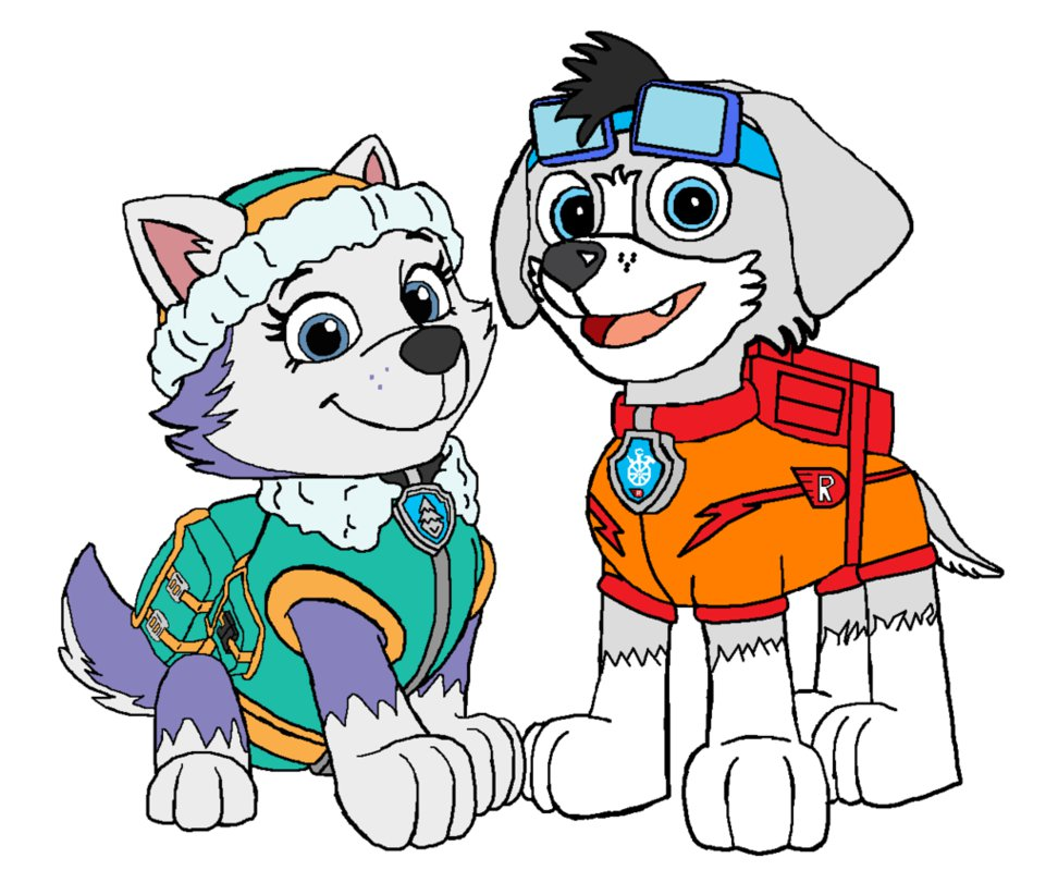 Paw patrol clipart everest picture freeuse download PAW Patrol - Sparky The Racer Pup and Everest by TheEvstar on ... picture freeuse download