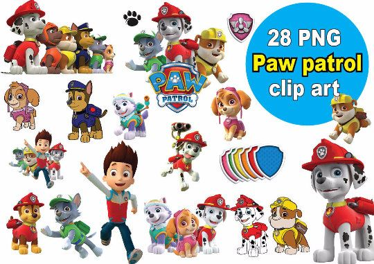 Paw patrol clipart free graphic library 28x Paw Patrol Clipart - printable Digital Clipart Graphic Instant ... graphic library