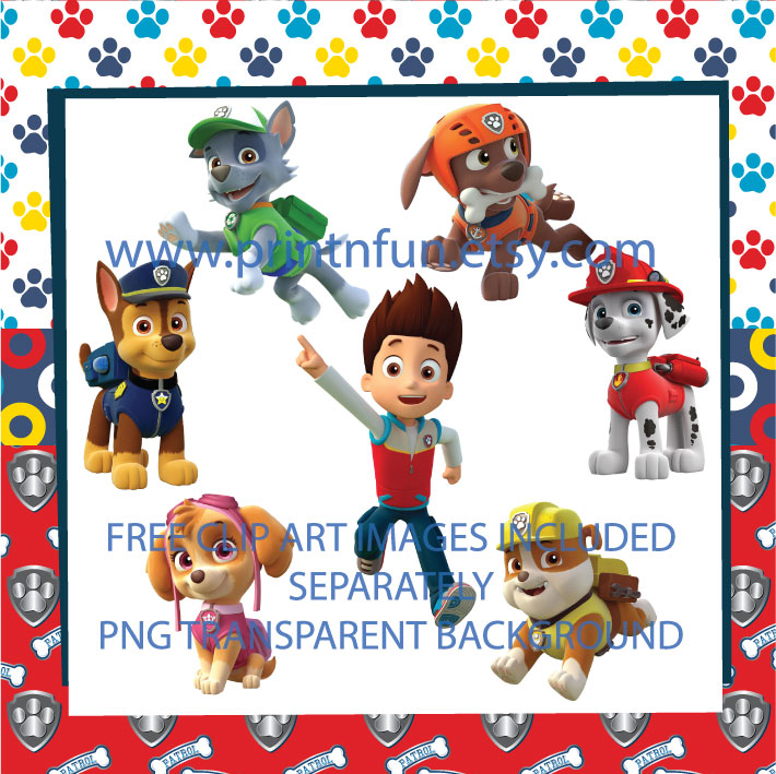 Paw patrol clipart free clip freeuse Paw Patrol Digital Paper Patterns and FREE Clip art clip freeuse