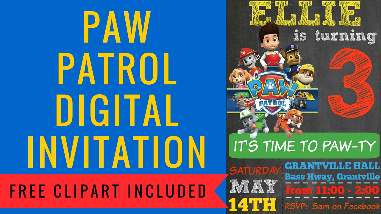 Paw patrol free clipart png library How to make a Paw Patrol Digital Invitation | includes FREE ... png library