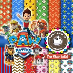 Paw patrol free clipart jpg black and white download Paw Patrol Digital Paper Patterns and FREE Clip art - Digital ... jpg black and white download
