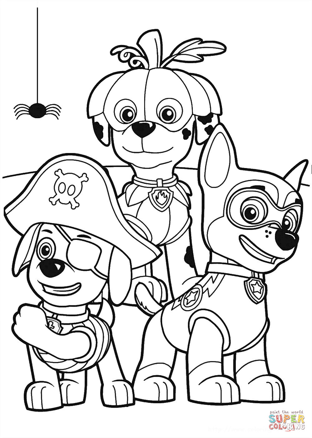 Paw patrol halloween clipart clipart black and white stock Paw Patrol Halloween Party coloring page | Free Printable Coloring ... clipart black and white stock