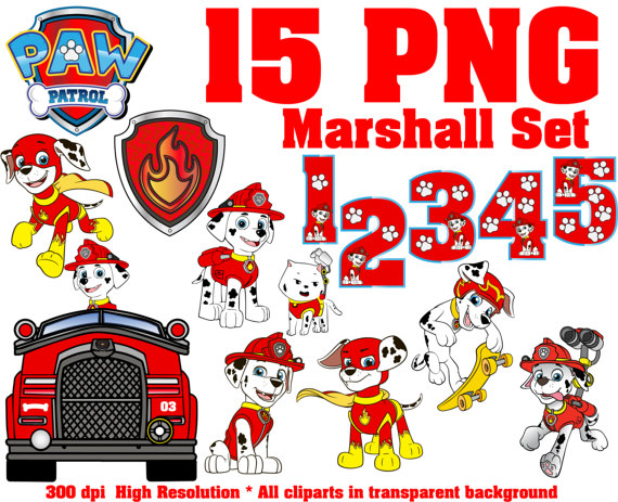 Paw patrol marshall clipart clip art black and white download Paw Patrol Marshall Set Clipart 15 PNG 300 Dpi I Transparent clip art black and white download