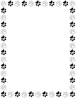 Paw print border clipart jpg library Black and White Paw Print Border | butterfly | Page borders ... jpg library