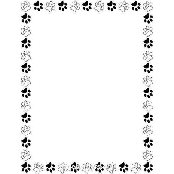 Paw print border clipart image free library Black and White Paw Print Border: Clip Art, Page Border, and ... image free library