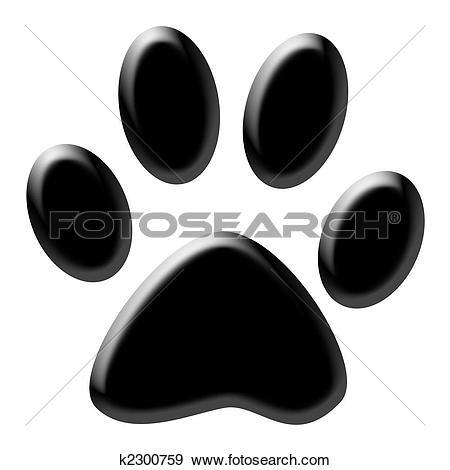 Paw print clipart jpeg black and white library Stock Photograph of Paw print k2300759 - Search Stock Photography ... black and white library