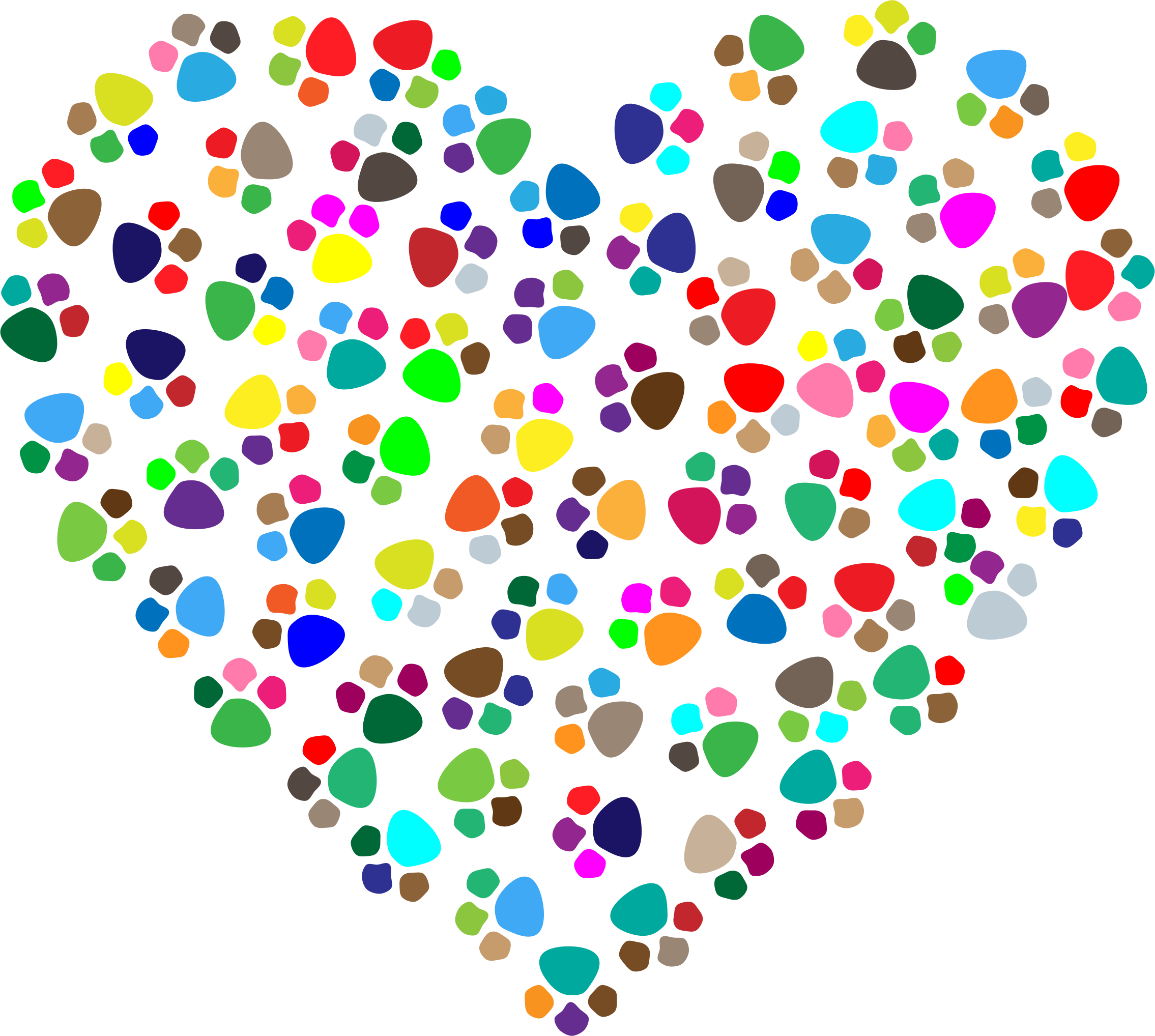 Paw print heart clipart clipart black and white Clipart - Prismatic Paw Prints Heart 2 clipart black and white