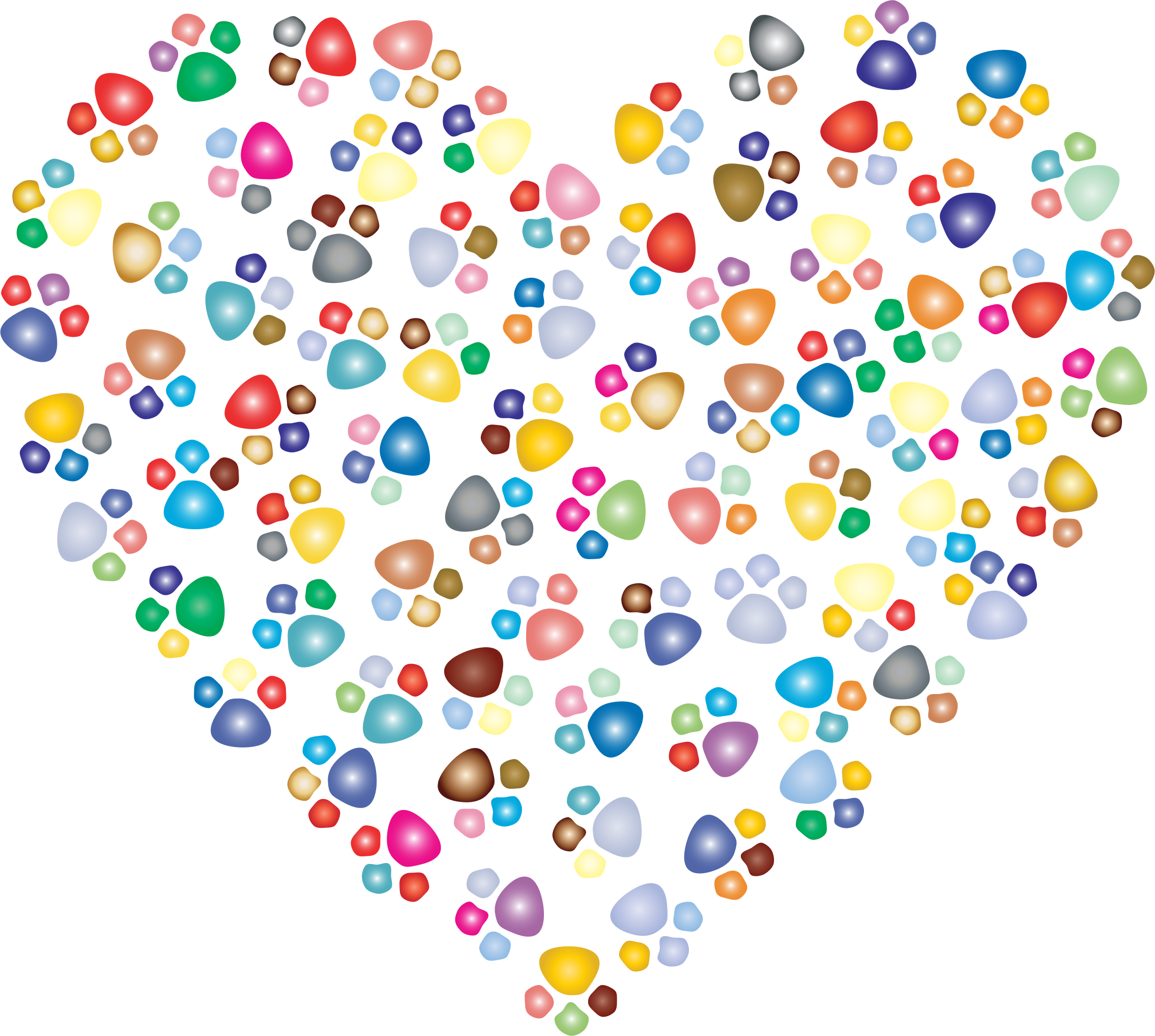 Paw print heart clipart png royalty free Clipart - Prismatic Paw Prints Heart 3 png royalty free