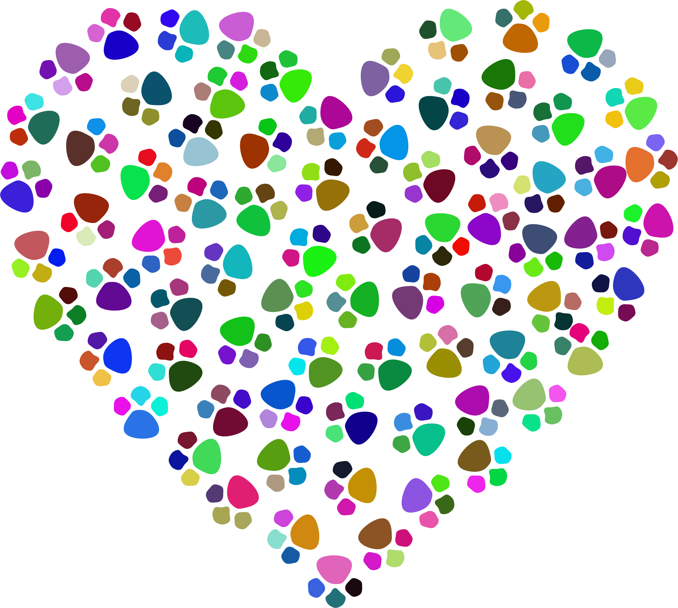 Paw print with heart clipart picture free stock Clipart - Prismatic Paw Prints Heart picture free stock