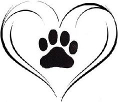 Paw print with hearts clipart jpg library Paw print in heart clipart - ClipartFest jpg library