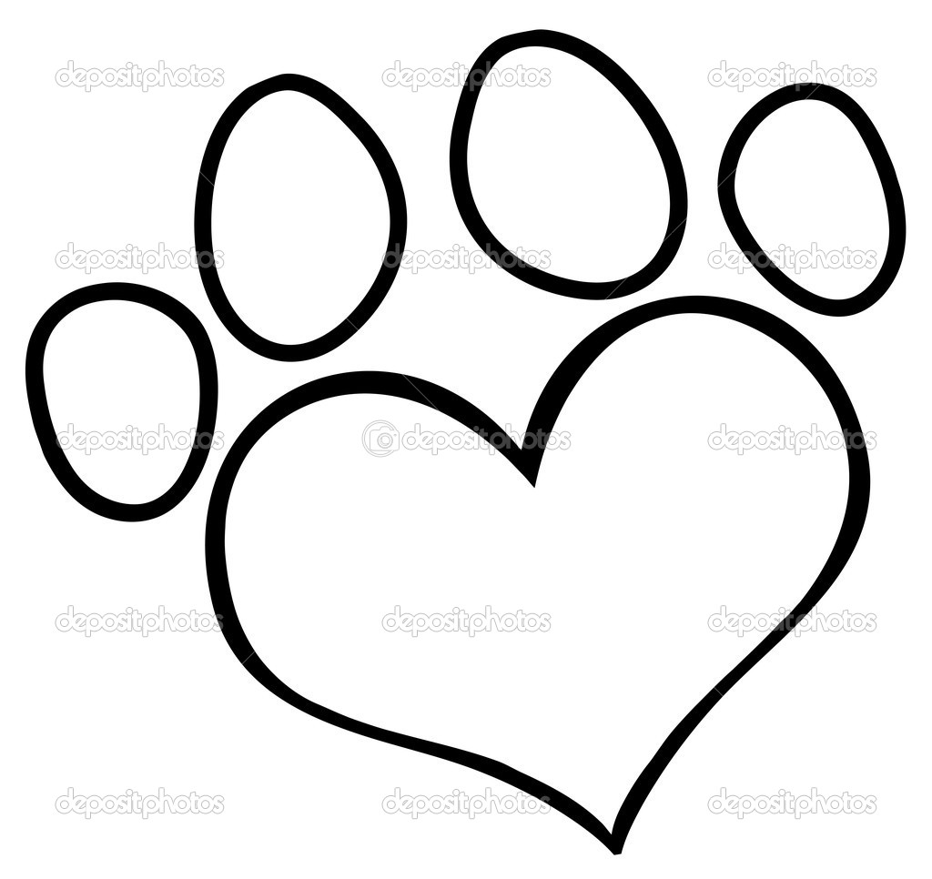 Paw print with hearts clipart image library download Heart Paw Print Clipart - Clipart Kid image library download