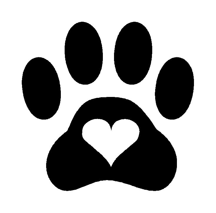 Paw print with hearts clipart clip art black and white library Dog paw prints with heart clipart - ClipartFest clip art black and white library