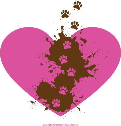 Paw print with hearts clipart vector library Free Paw Prints Clipart vector library