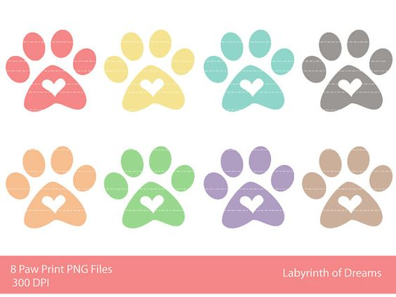 Paw print with hearts clipart graphic transparent Paw Print with Heart Digital Clip art   Clip art, Art and Heart graphic transparent