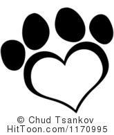 Paw print with hearts clipart clip free stock Paw print in heart clipart - ClipartFest clip free stock