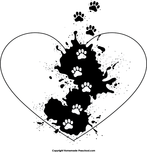 Paw print with hearts clipart clip black and white download Free Paw Prints Clipart clip black and white download