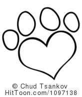 Paw print with hearts clipart image transparent library Heart Paw Print Clipart - Clipart Kid image transparent library