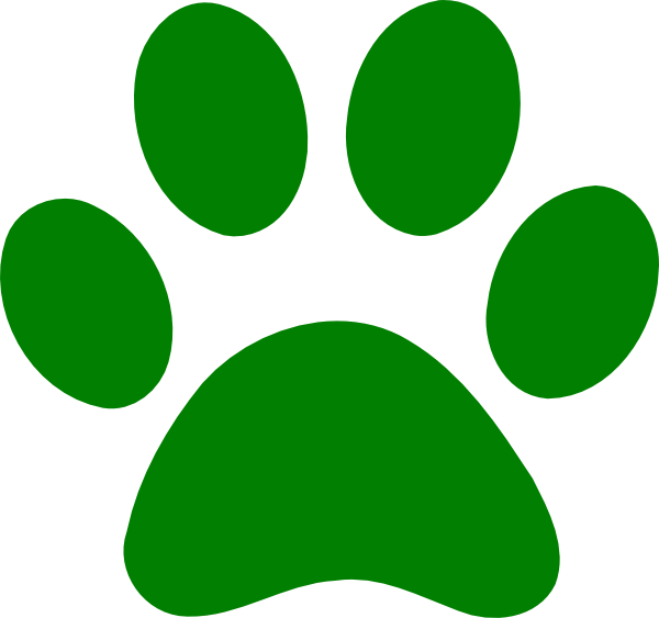Pawprint clipart banner royalty free Green Paw Print clip art - vector clip art online, royalty ... banner royalty free