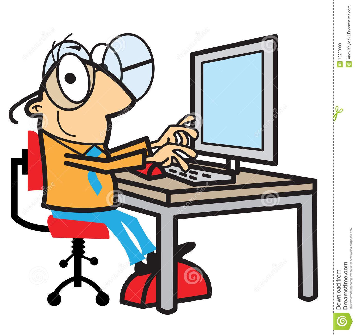 Pc arbeit clipart clip stock Karikaturmann, Der Am Computer Arbeitet Stockfotos - Bild: 13780903 clip stock