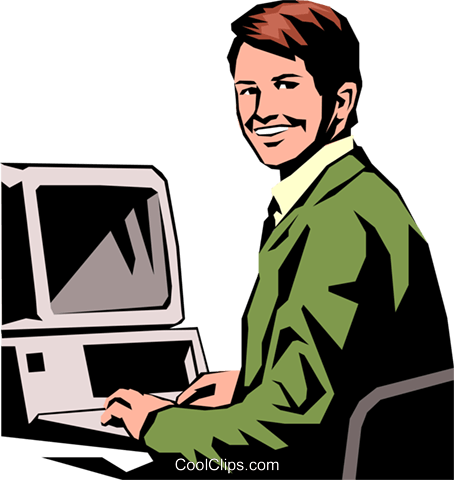 Pc arbeit clipart vector black and white stock Student working on PC Royalty Free Vector Clip Art illustration ... vector black and white stock