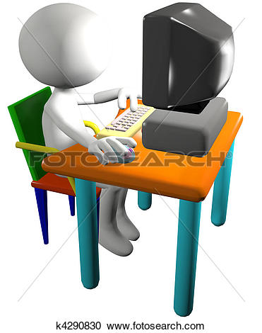 Pc arbeit clipart clip art Stock Illustrations of Computer user uses 3D cartoon PC side view ... clip art