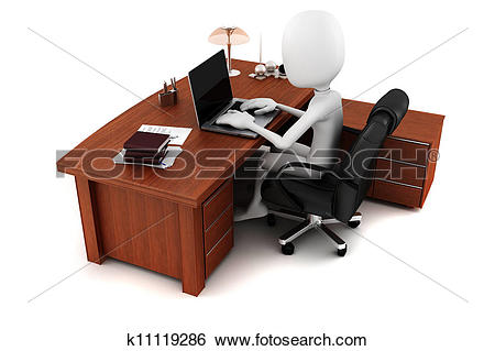 Pc arbeit clipart clip freeuse stock Stock Illustration of 3d man working at his desk k11119286 ... clip freeuse stock