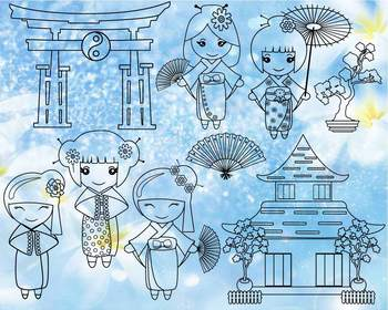 Pdf jpg clipart vector transparent download Black White Outline Kokeshi Japanese Dolls SVG pdf jpg Kids Color Book 1274S vector transparent download
