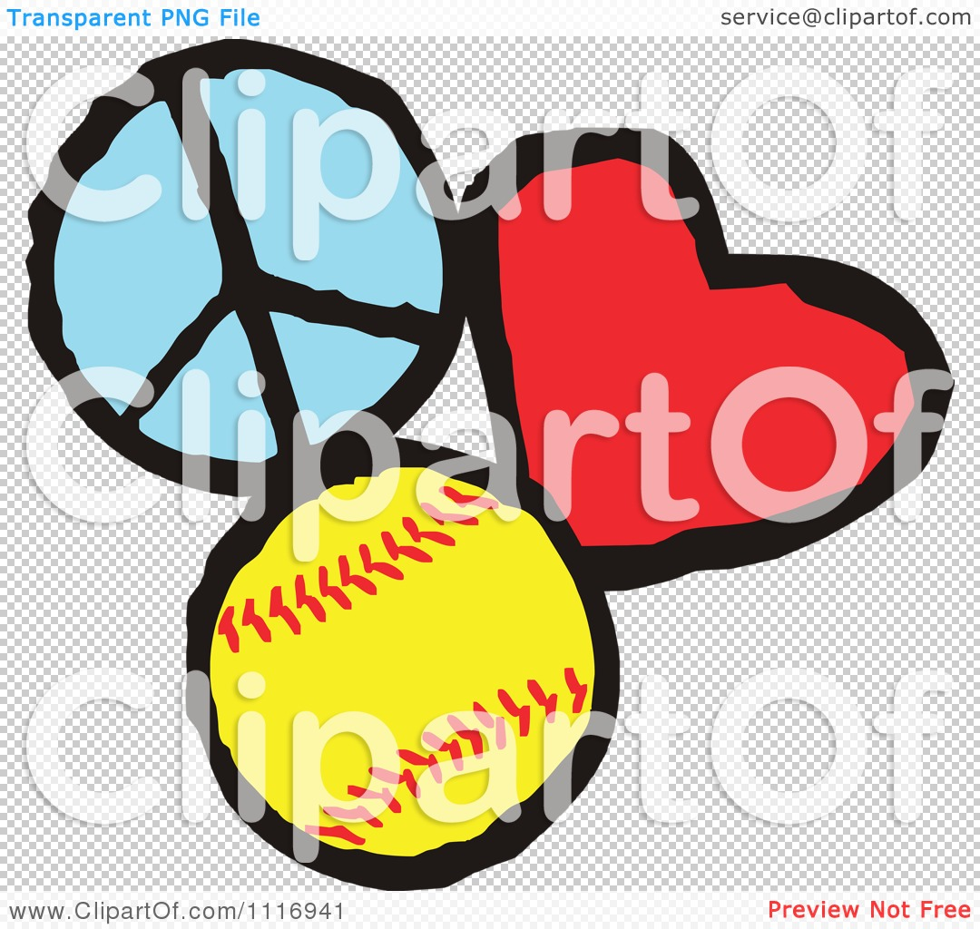 Peace and love clipart transparent library Cartoon Of Peace Love Softball Graphics - Royalty Free Vector ... transparent library