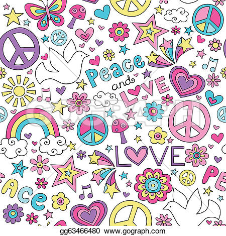 Peace and love clipart picture library download EPS Vector - Peace, love & dove doodles pattern. Stock Clipart ... picture library download