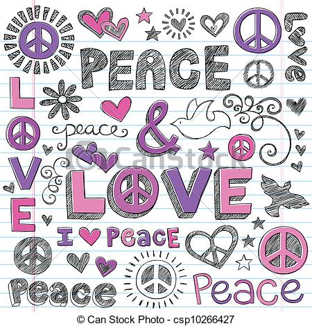 Peace and love clipart picture black and white download Vector Illustration of Peace & Love Sketchy Doodles Vector - Peace ... picture black and white download