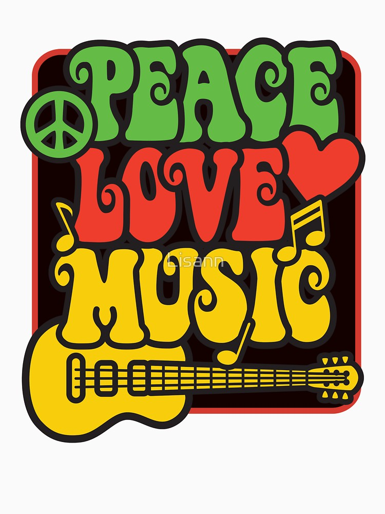 Peace love and rock and roll clipart picture stock Rasta Peace, Love, Music | Women\'s T-Shirt, a t-shirt of vintage ... picture stock