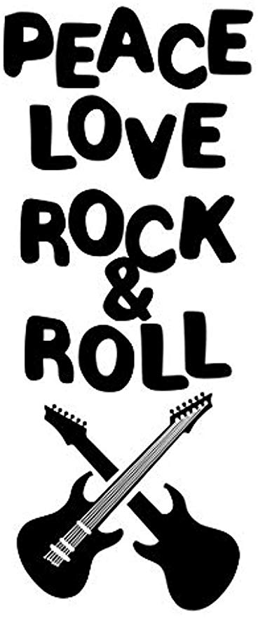 Peace love and rock and roll clipart graphic black and white download Amazon.com: Wall Vinyl Decal Peace Love Rock & Roll Guitar Play ... graphic black and white download
