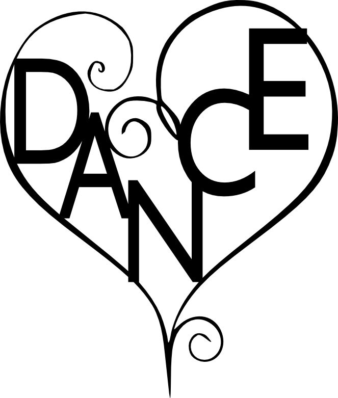 Peace love dance cartoon clipart black and white